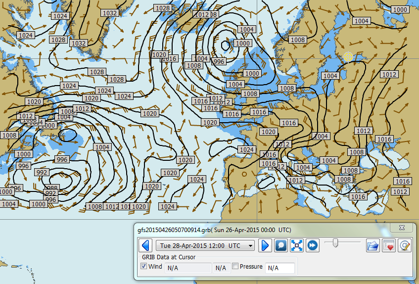 GRIB tiedoston esitys kartan päällä