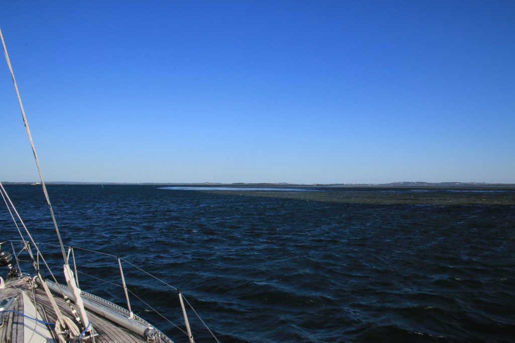 Tyypillistsä Limfjordin maisemaa. Vesi on todella matalaa ruopatun kanavan ulkopuolella.