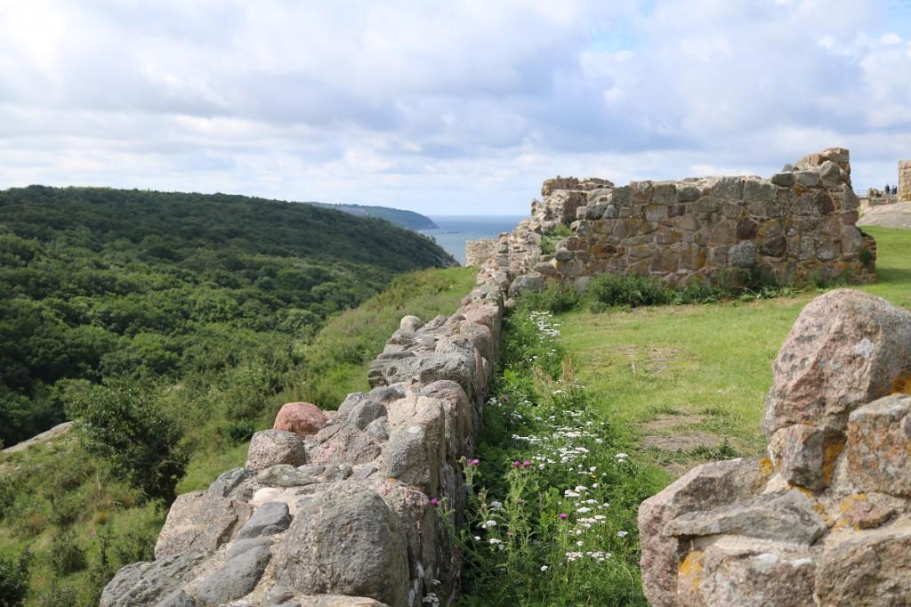 Näkymää linnalta etelänsuuntaan, metsät ovat todella vehreitä.